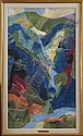 "ETHEL MAGAFAN (1916-1993): ""WATERFALL"" Oil on"