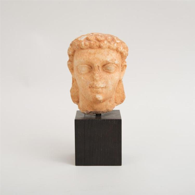 GREEK CARVED MARBLE HEAD OF A YOUTH