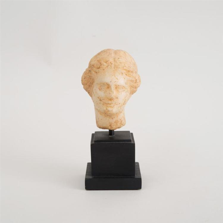 HELLENISTIC CARVED MARBLE HEAD OF APHRODITE