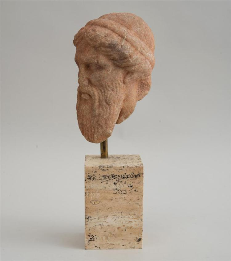 GREEK CARVED MARBLE HEAD OF A GOD
