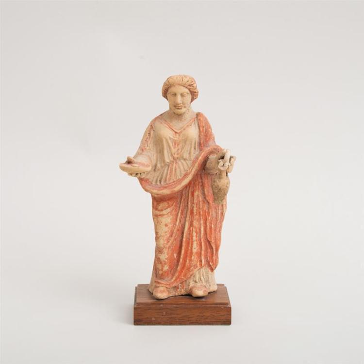 GREEK PAINTED TERRACOTTA FIGURE OF A WOMAN, TARENTUM