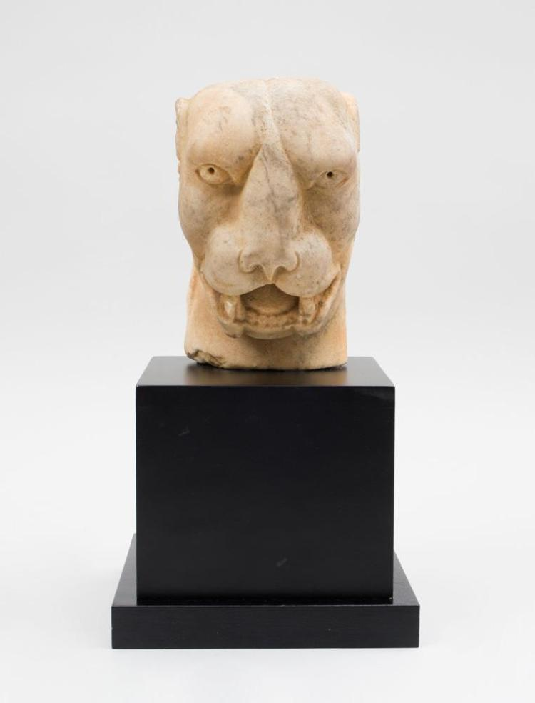 ROMAN CARVED MARBLE PANTHER HEAD