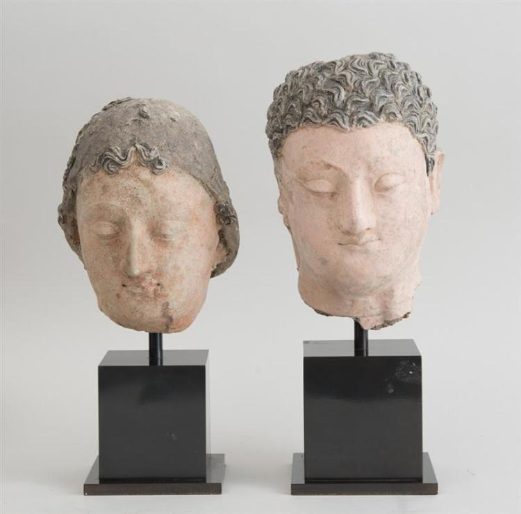 TWO GANDHARAN CLAY BUSTS OF NOBLEMEN