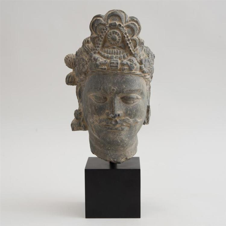 GANDHARAN CARVED GREY STONE HEAD OF A BODHISATTVA