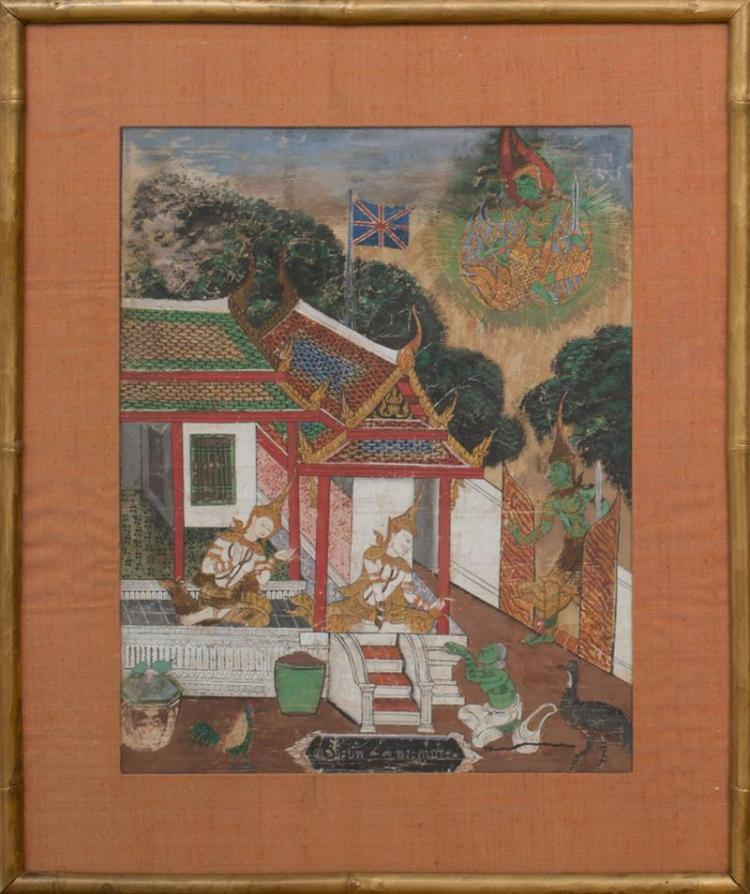 THAI SCHOOL: PAVILION SCENE WITH THE BRITISH FLAG; AND PAVILION SCENE WITH PRINCE AND ATTENDANTS