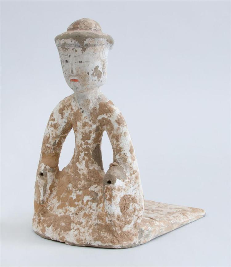 WESTERN HAN PAINTED POTTERY FIGURE OF A COURT LADY