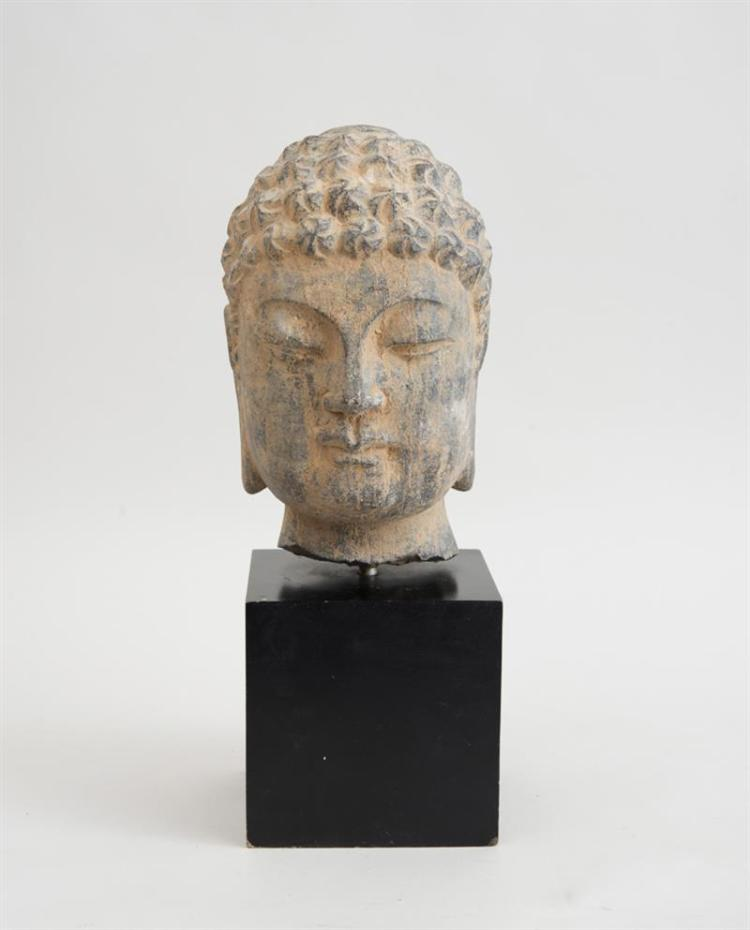 CHINESE CARVED GREY STONE HEAD OF A SMILING LOHAN