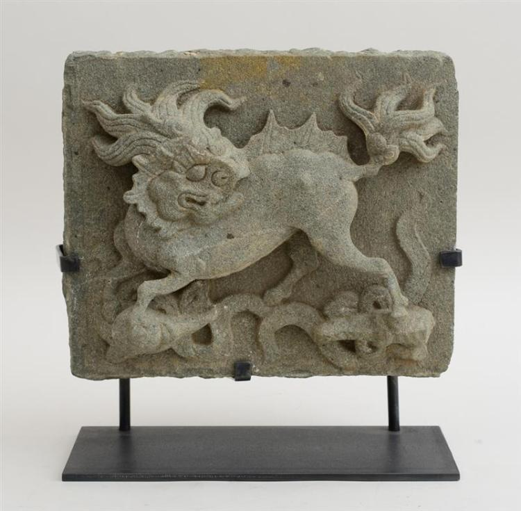CHINESE RELIEF-CARVED STONE ARCHITECTURAL TILE