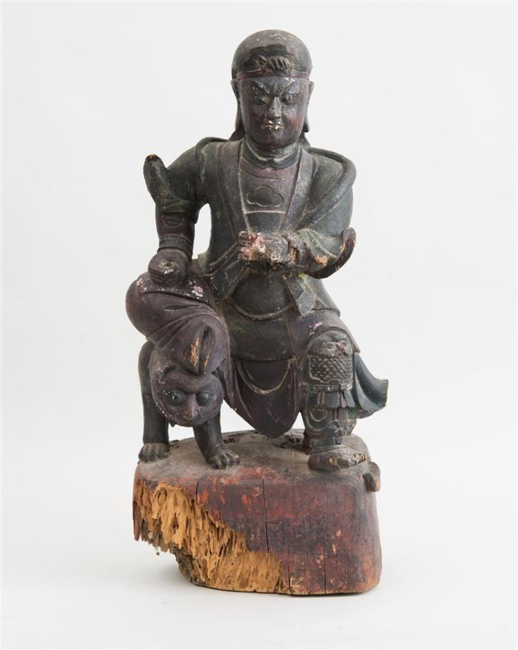CHINESE CARVED WOOD FIGURE OF A LORD