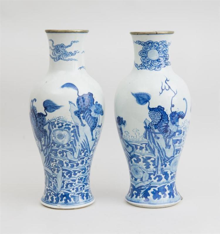 PAIR OF CHINESE BLUE AND WHITE PORCELAIN BALUSTER-FORM VASES