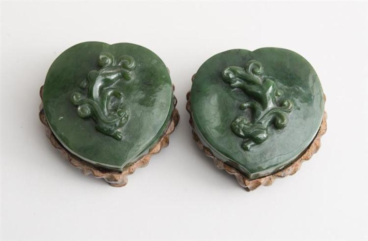 PAIR OF CHINESE SPINACH GREEN JADE HEART-SHAPED BOXES AND COVERS