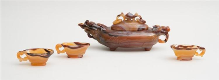 CHINESE CARVED CARNELIAN BEAST-FORM WINE VESSEL AND COVER