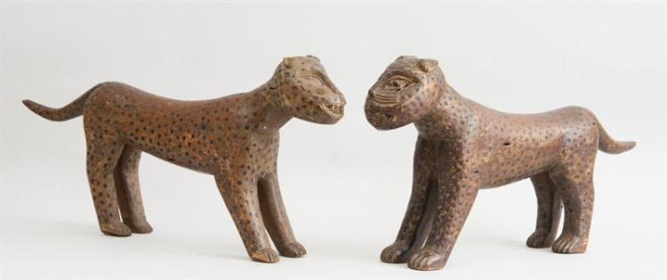TWO AFRICAN CARVED WOOD FIGURES OF LEOPARDS, PROBABLY BENIN KINGDOM, NIGERIA