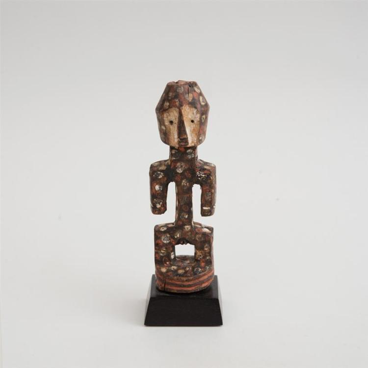 LENGOLA CARVED AND PAINTED WOOD FEMALE FIGURE