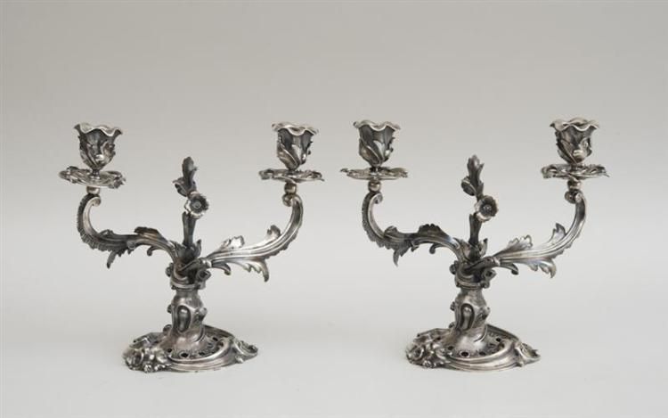 PAIR OF RUSSIAN SILVER TWO-LIGHT CANDELABRA, IN THE LOUIS XV STYLE