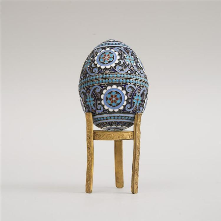 RUSSIAN CLOISONNÉ ENAMEL, SILVER AND SILVER-GILT EASTER EGG-FORM BOX