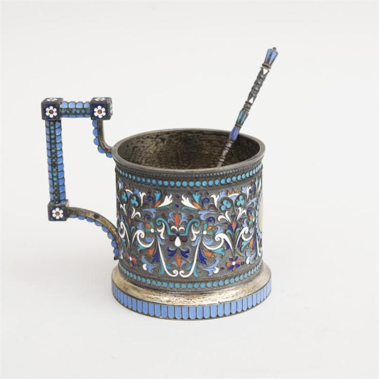 RUSSIAN CLOISONNÉ ENAMEL AND SILVER TEA GLASS HOLDER AND A TEASPOON