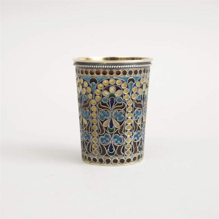 RUSSIAN SILVER-GILT AND PLIQUE-A-JOUR ENAMEL CUP
