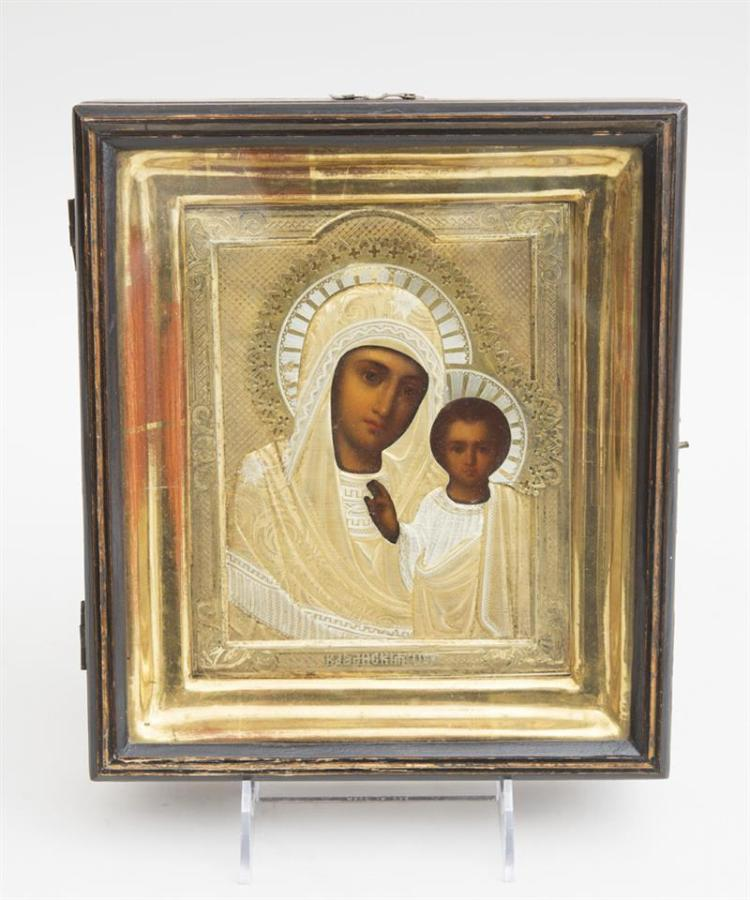 TWO RUSSIAN PAINTED WOOD ICONS