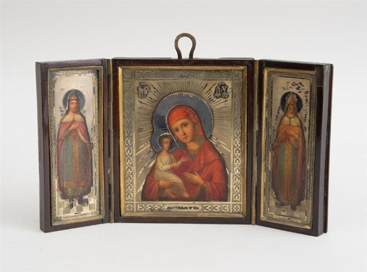 RUSSIAN PAINTED METAL TRIPTYCH WITH SILVER-GILT OKLAD
