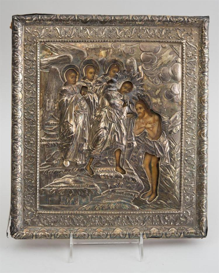 RUSSIAN PAINTED WOOD ICON WITH SILVER OKLAD, DEPICTING THE BAPTISM OF CHRIST