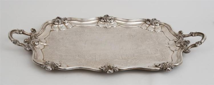 VICTORIAN ENGRAVED SILVER TWO-HANDLED TEA TRAY