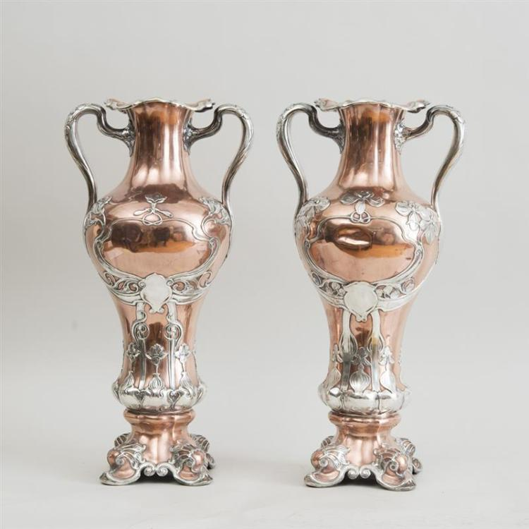 PAIR OF LARGE GORHAM MIXED METAL SILVER ON COPPER TWO HANDLED VASES
