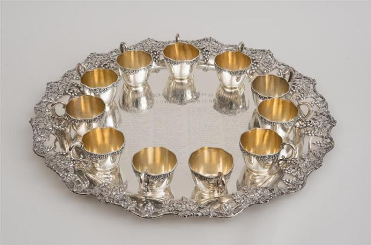 SHREVE AND CO. PRESENTATION SILVER PUNCH TRAY AND ELEVEN MATCHING PUNCH CUPS