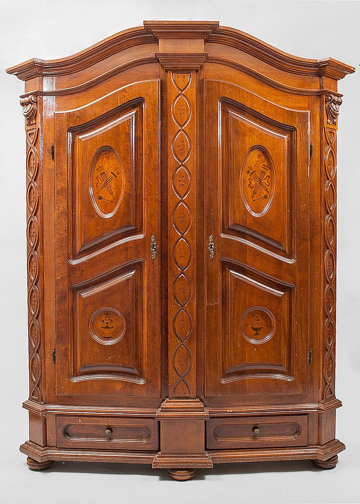 german marquetry inlaid two door armoire modern. Black Bedroom Furniture Sets. Home Design Ideas