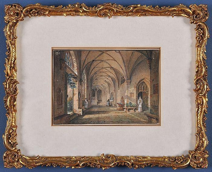 SIMON QUAGLIO (1795-1878): INTERIOR VIEW OF A CLOISTERS