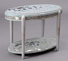 FRENCH ART DECO PAINTED AND SILVER-GILT SIDE TABLE