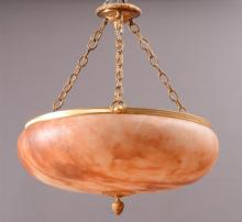 ITALIAN ART DECO STYLE GILT-METAL MOUNTED ALABASTER HANGING FIXTURE