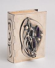 ISRAELI PEARL AND AMETHYST-MOUNTED STERLING SILVER BRIDE'S BIBLE COVER
