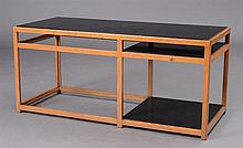 DUNBAR OAK AND BLACK LAMINATE LOW TABLE, POSSIBLY ED WORMLEY, WITH A DUNHAR LABEL