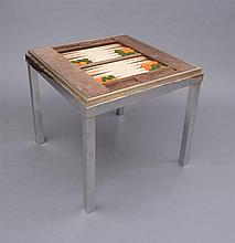 WILLY RIZZO CHROME AND BRASS GAMES TABLE, STAMPED WILLY RIZZO, MADE IN ITALY