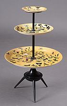 PIERO FORNASETTI DECOUPAGED PAINTED METAL THREE-TIERED STAND