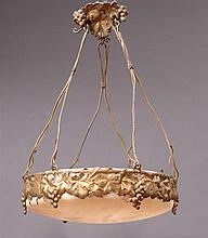 FRENCH GILT-METAL AND ALABASTER SIX-LIGHT CHANDELIER, IN THE MANNER OF ALBERT CHEURET (1884-1966)