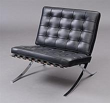 LUDWIG MIES VAN DER ROHE CHROME AND LEATHER BARCELONA CHAIR, KNOLL
