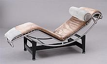 LE CORBUSIER AND CHARLOTTE PERRIAND DESIGNED CHROME AND BLACK PAINTED METAL CHAISE (CASSINA)