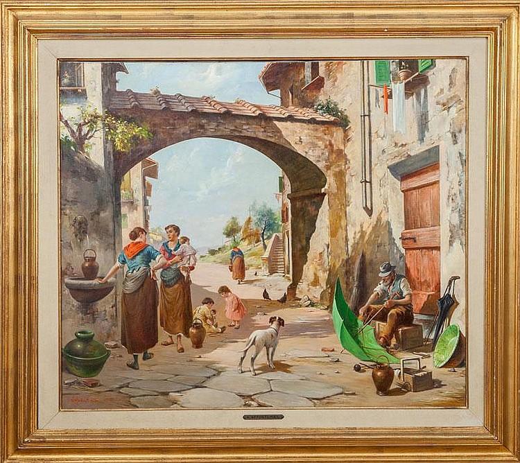 Aldo Affortunati (1906-1990): Italian Village Scene