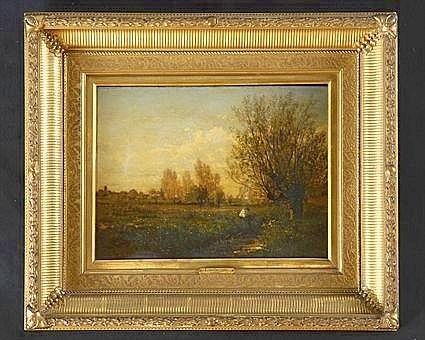 EMILE LAMBINET (1815-1877): LANDSCAPE WITH FIGURES
