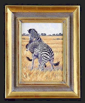 LINDSAY SCOTT (B. 1955): ZEBRAS Oil on canvas, 12