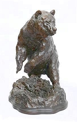 TIM SHINABARGER (b. 1966): BRONZE FIGURE OF A BEAR