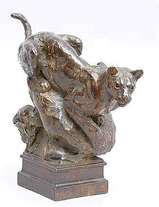 TIM SHINABARGER (b. 1966): BRONZE FIGURE OF A WILD