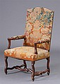 CONTINENTAL BAROQUE STAINED WALNUT TALL BACK ARMCHAIR