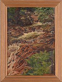 BYAM SHAW (1872-1919): ROMANCE BY CASCADING FALLS