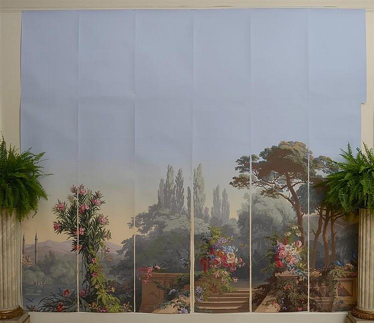set of seven zuber hand blocked wallpaper panels el dorado. Black Bedroom Furniture Sets. Home Design Ideas