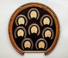 ENGLISH VICTORIAN WALNUT HORSESHOE-FORM FRAME AND AN OAK HORSESHOE-FORM MIRROR