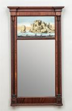 FEDERAL WOOD AND VERRE ÉGLOMISÉ MIRROR
