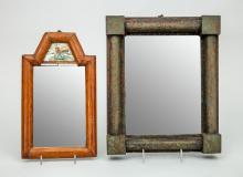 GREEN PAINTED SMALL RECTANGULAR MIRROR AND A COURTING MIRROR